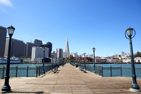 transamerica: View of San Francisco financial district from pier, USA