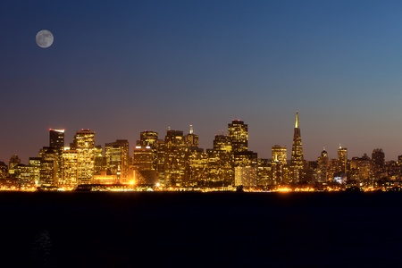 San Francisco skyline at night, California, USA photo