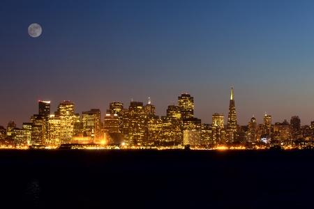 waterfront: San Francisco skyline at night, California, USA Stock Photo