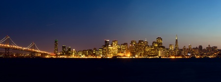 샌프란시스코: 일몰 샌프란시스코의 스카이 라인, 캘리포니아, 미국 스톡 사진