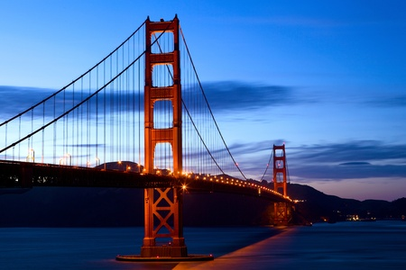 bay: Golden Gate Bridge at sunset, San Francisco, California