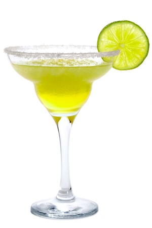 tequila: Cocktail Frozen Margarita or Daiquiri with lime isolated on white Stock Photo