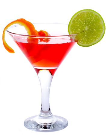 Classic Cosmopolitan Cocktail isolated on white background photo