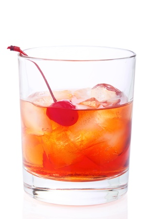 Manhattan Cocktail in old fashioned glass isolated on white photo