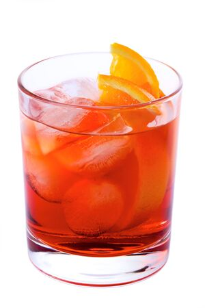 Negroni Cocktail isolated on white background Stock Photo