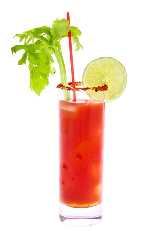 tomato cocktail: Bloody Mary Cocktail isolated on white