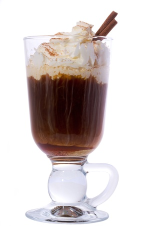 capuchino: Irish coffee isolated on white background