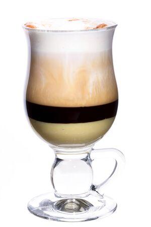 capuchino: Latte coffee with black & white chocolate isolated
