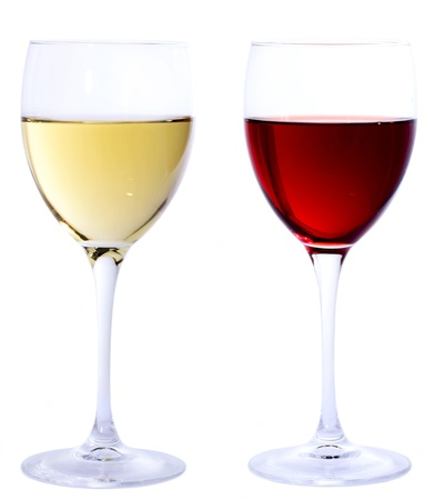 white wine glass: Red and white wine glasses isolated on white background