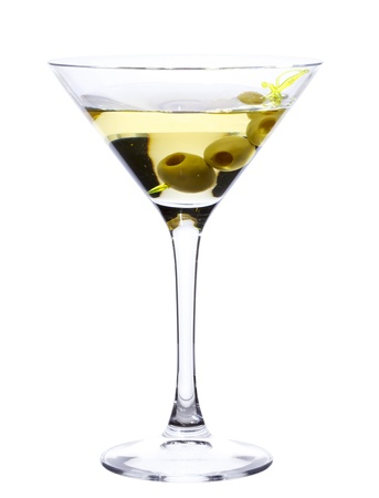 vermouth: Glass of Martini with olives isolated on white