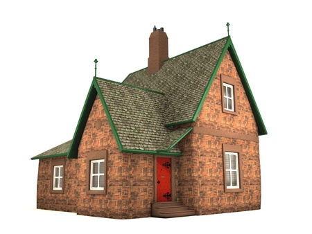 render residence: Traditional small house on white background