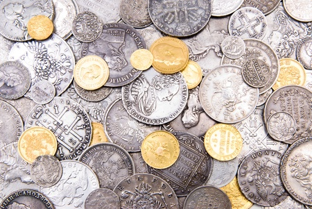silver coins: Russian gold and silver coins (18-19 century) Stock Photo