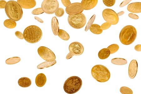 money rain: Old gold coins isolated on white background Stock Photo