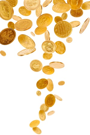 gold treasure: Old gold coins isolated on white background Stock Photo