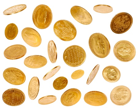 monete antiche: Monete oro vecchio isolati su sfondo bianco Archivio Fotografico