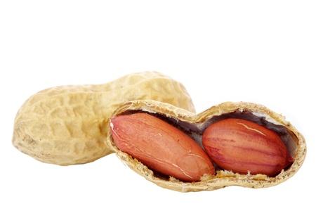 cacahuate: Man� aislados sobre fondo blanco