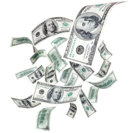 money flying: Dólares que cae sobre un fondo blanco Foto de archivo