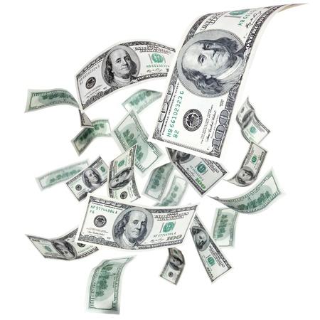 flying money: Falling dollars on a white background