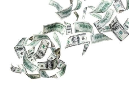 money flying: Volando de dólares en un fondo blanco Foto de archivo