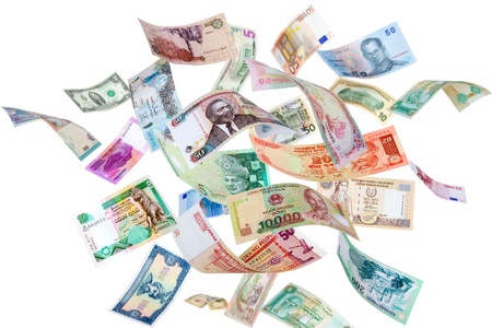 international money: Falling Banknotes from different countries, isolated on white background