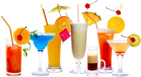 alcohol screwdriver: Cocktails isolated on white: Tequila Sunrise, Frozen Margarita, Screw-Driver, Pina Colada, B52, Malibu Punch, Daiquiri