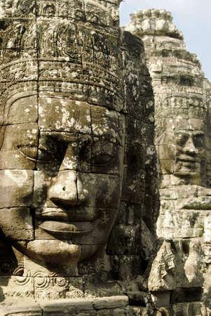bayon: Stone faces of Bayon (Angkor, Cambodia) Stock Photo