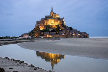 abbey: Mount Le Mont Saint Michel, Night view , Normandy, France Stock Photo
