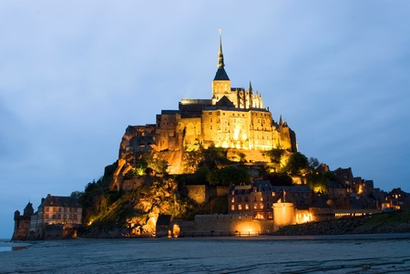 Mount Le Mont Saint Michel, Night view , Normandy, France photo