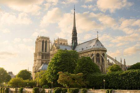 notre: Notre Dame de Paris before sunset Stock Photo