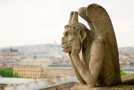 chimera: Chimera on Notre Dame Cathedral. Paris.