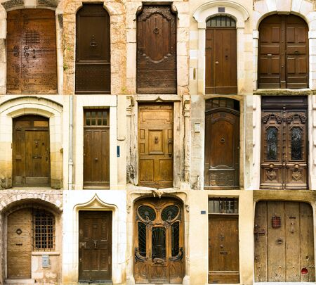 french doors: Collection of old french entrance doors , 15 doors set.