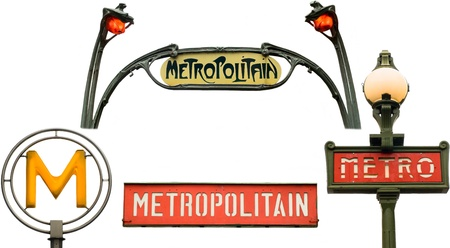 metropolitan: Set of metro signs  Isolated on white in Paris, France