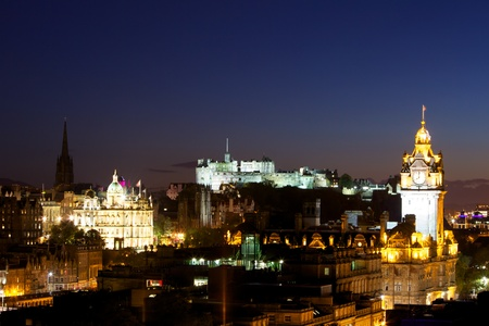 View of Edinburgh Castle from Calton Hill at night Stock Photo