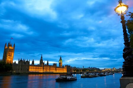 sightseeng: Evening view of Houses of Parliament, London, United Kingdom
