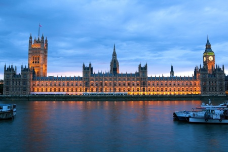 sightseeng: Evening view of House of Parliament, London, United Kingdom