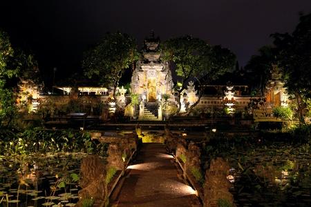 saraswati: Balinese temple with lotus pond at night, Ubud, Indonesia