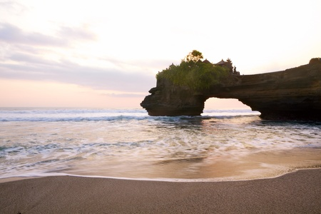 bali temple: Balinese temple Tanah Lot complex at sunset, Bali, Indonesia