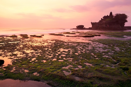 Tanah Lot temple at sunset. Bali island, indonesia photo