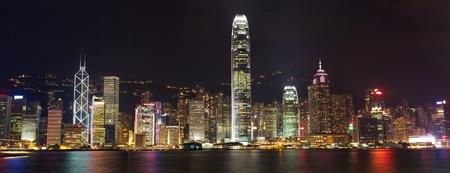 Hong Kong skyline at night over Victoria harbor