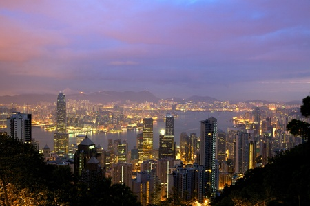 Hong Kong skyline from Victoria Peak at sunrise photo