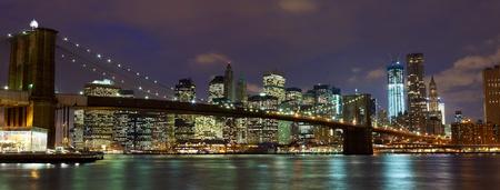 panorama city: New York City Manhattan and Brooklyn Bridge at dusk  Stock Photo