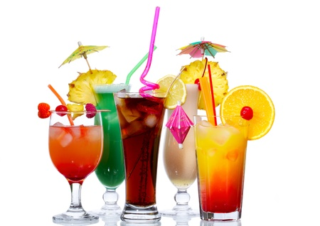 colada: Cocktails isolated on white: Tequila Sunrise, Pina Colada, Cuba Libre, Blue Hawaii and Red Rum Swizzle