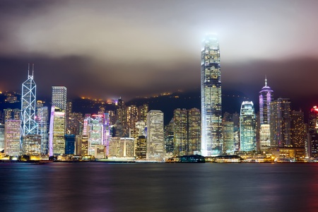 Nighttime view of Hong Kong skyline over Victoria harbor Stock Photo - 12525694
