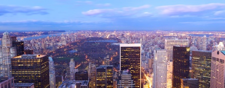 New York City Central Park aerial view with Manhattan skyline and skyscrapers at dusk