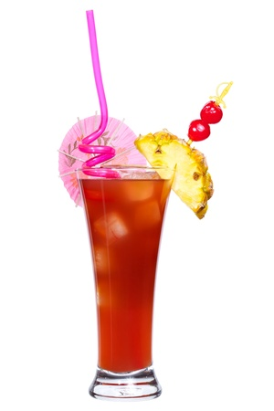 Cocktail Singapore Sling isolated on white Stock Photo