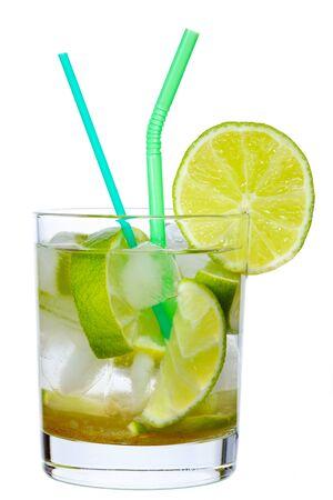 Brazilian Lime Cocktail Caipirinha isolated on white photo