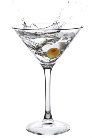 martini splash: Cocktail with olive splash isolated on white Stock Photo