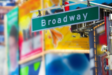 times: Broadway street sign in Times Square, Manhattan, New York