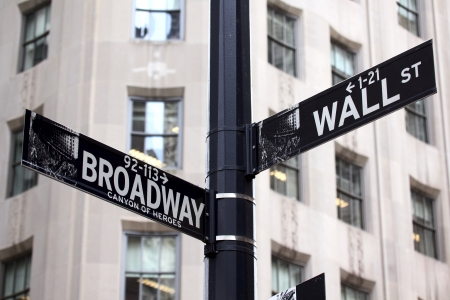 big apple: Broadway and Wall Street Signs, Manhattan, New York Stock Photo