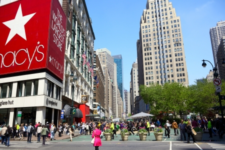 macys: NEW YORK CITY - APR 20  Herald Square at 34th St  and Broadway with department store Macy